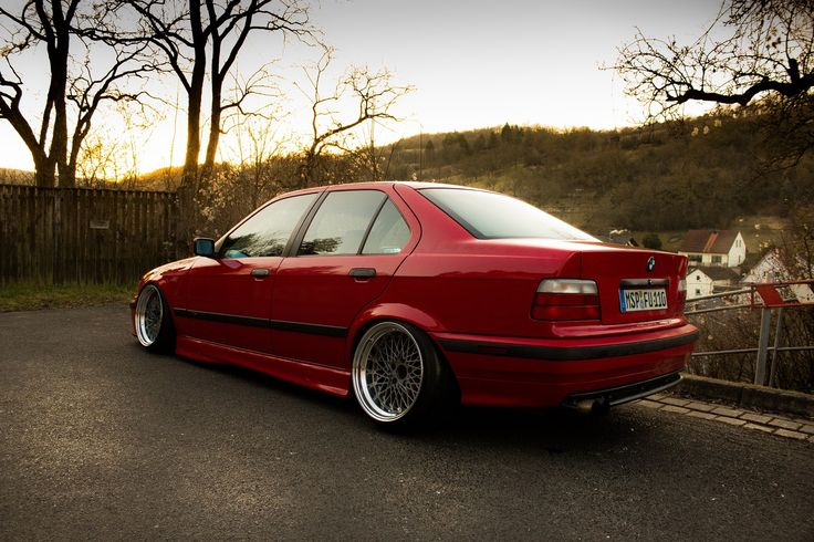 Hellrot Bmw E36 Sedan On Super Rare Ssr Formula Mesh