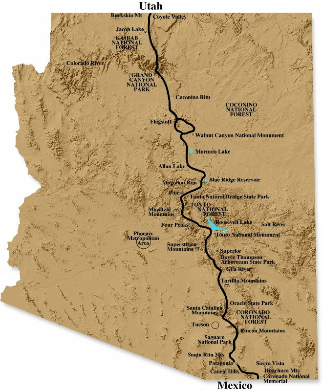 Map Showing Current Arizona Trail Miles I Must Hike This