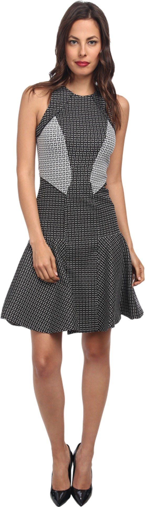 ZAC Zac Posen Women's Printed Drop-Waist Dress Black/White Dress. All eyes will be on you in this fashionable, flirtatious dress. Sleeveless design. Flattering bodice seaming. Flared pleated skirt. Back zip closure. 56% cotton, 39% polyamide, 5% elastane. Dry clean only. Made in the U.S.A. This item may ship with an attached security tag. Merchandise returned without the original security tag attached or a damaged tag may not qualify for a refund. Measurements: Length: 38 in Product...