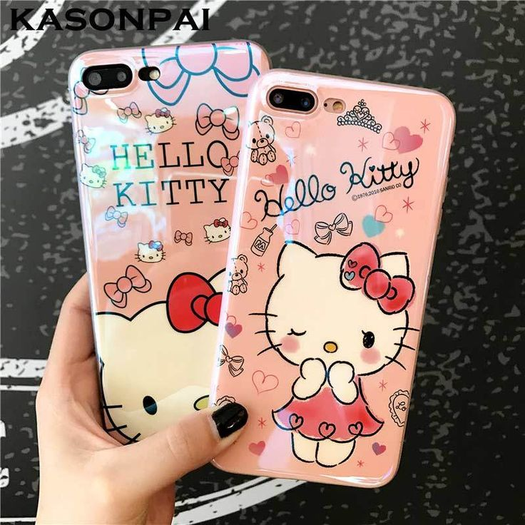 KASONPAI Blu-ray Cute Cartoon Hello Kitty Cat Soft TPU Case for iPhone 6 6s 7 8 Plus Fancy Artistic Back Cover Case for iphone 7