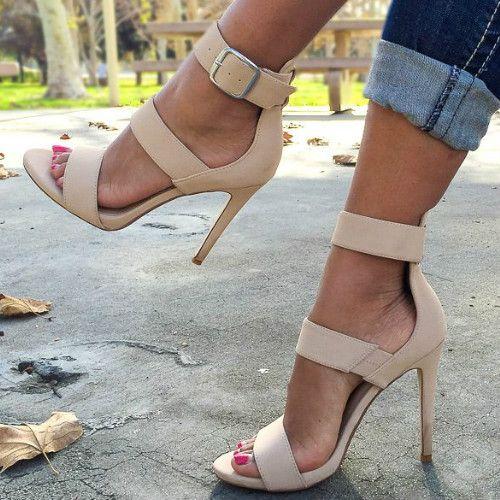 Nude Strappy Single Sole Heels