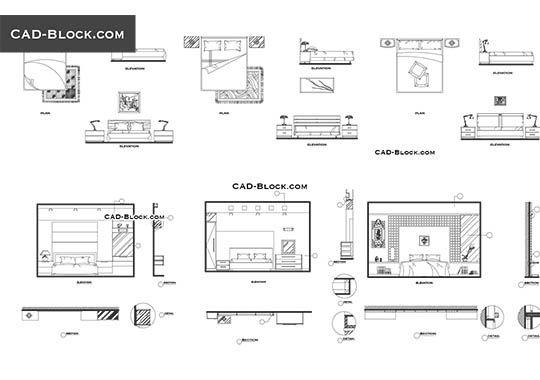 Bedroom - free AutoCAD Blocks