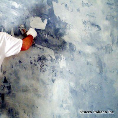 Venetian Plaster. By Aaron Cohen.Special effect  blue wall.