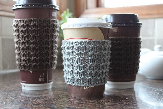 Free Knitting Pattern Coffee Cup Sleeve : Boxy Cozy coffee cup sleeve knitting pattern by Michelle Krause But What ...
