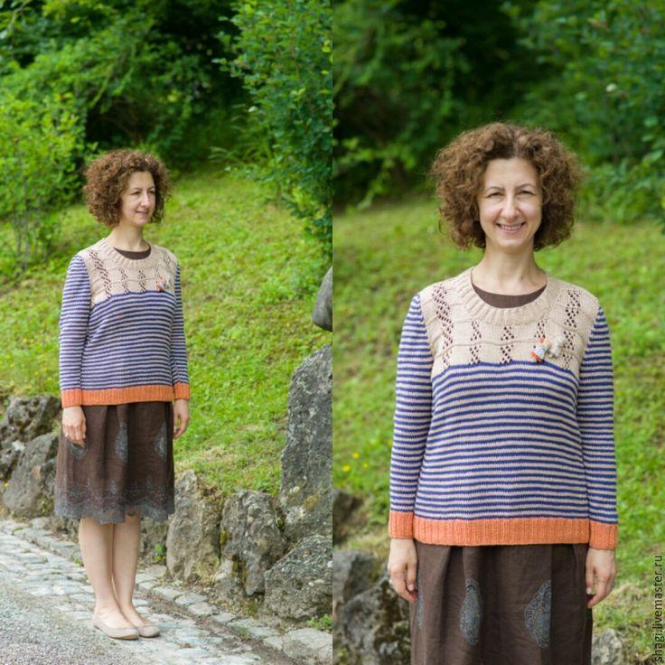 """Купить Вязаный, хлопковый свитер """"Морское путешествие"""" - комбинированный, в полоску, свитер, свитер вязаный"""