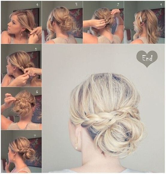 Messy Braid Bun for Medium Hair - Updo Hairstyle Tutorials