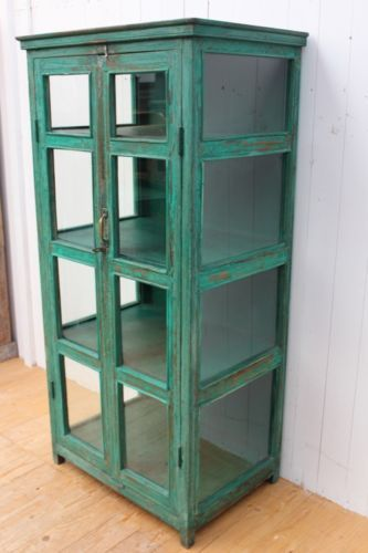 Vitrine Buffett Schrank Regal Bauholz Vintage Fundholz Altholz Antik grün | eBay