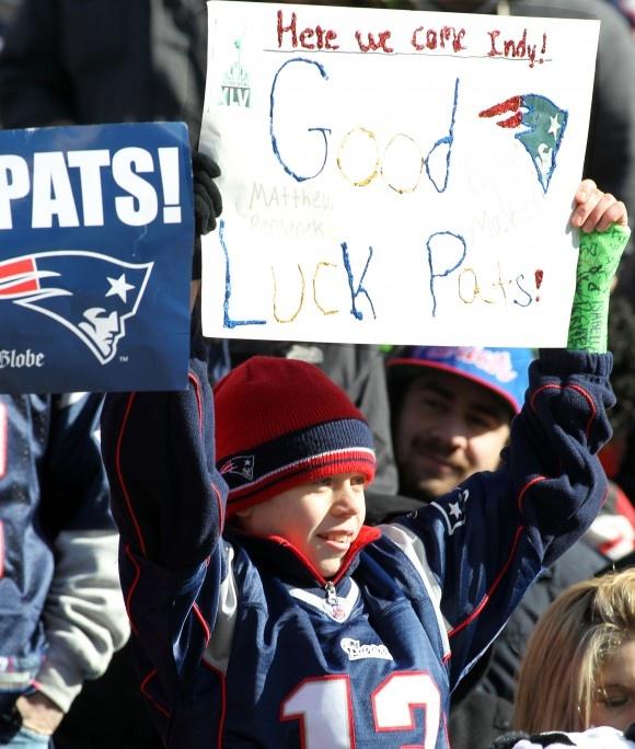 Kyle Maker, 12, from Halifax, Mass. - Super Bowl XLVI Sendoff Rally, Gillette Stadium, Sun, Jan. 29, 2012.