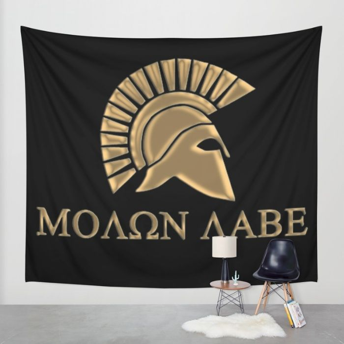 Buy Molon lave-Spartan Warrior Wall Tapestry by Augustinet. Worldwide shipping available at Society6.com. Just one of millions of high quality products available.
