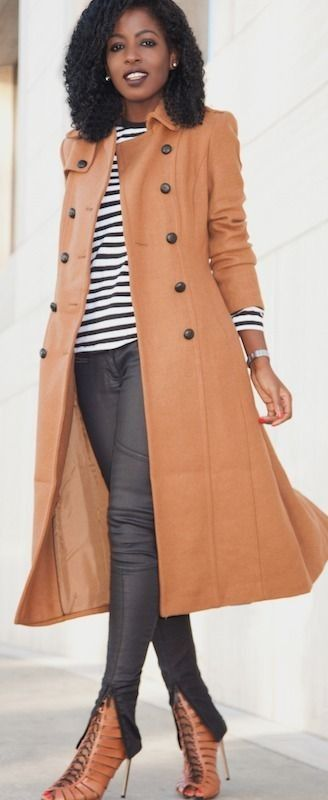 Style Pantry | Camel Trench Coat + Striped Tee + Coated Moto Jeans #style