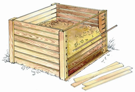 Build a wooden compost bin from recycled wood. From MOTHER EARTH NEWS magazine.