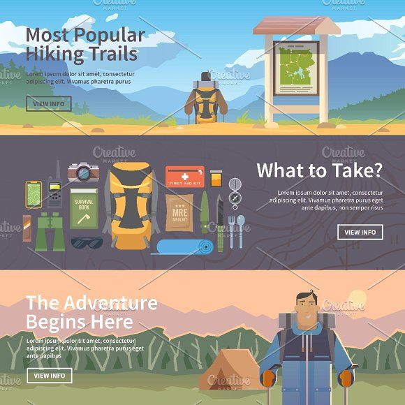 Hiking web banners. by Red monkey on @creativemarket