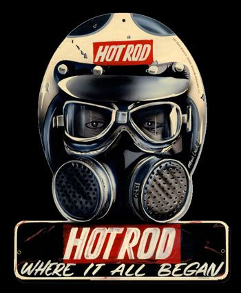 Vintage Race Mask Helmet Illustration Hot Rod