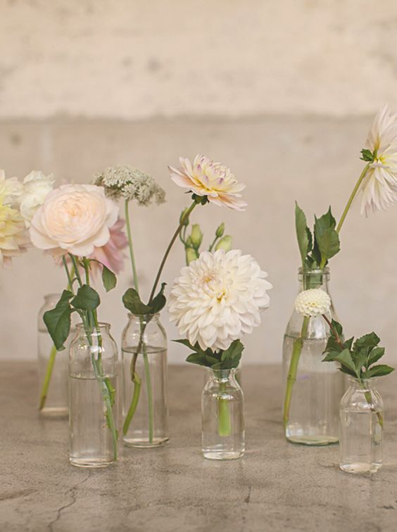 magnolia rouge | wedding decor | wedding details | bud vases | centerpieces | photo: danelle bohane: