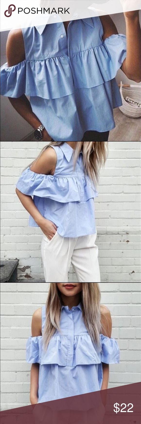 New🔥fashion off shoulder blouse New fashion light blue off shoulder blouse. Buttons down. Available in Small and Medium sizes. No trades❌.                                      Bundle it!✅  Questions about product are welcome✅ Tops Blouses