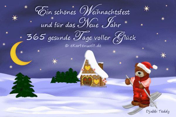 Teddy Weihnachtskarte im Schnee