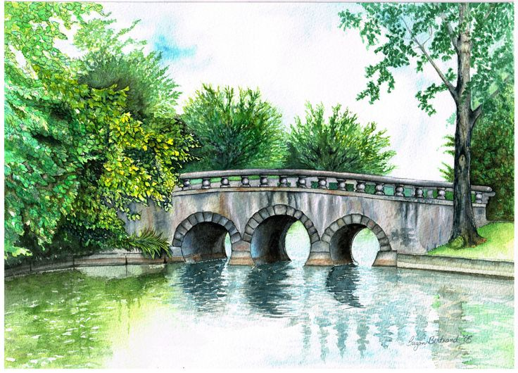 "Triple Tunnel Bridge, Lagoon City. Watercolour on rag paper. 10"" x 14"". Gallery 7, Lagoon City, Brechin ON. Prints available."