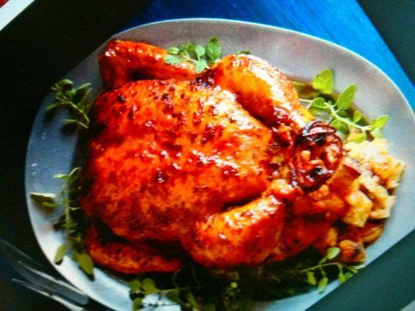 Pollo al horno glaseado con mermelada de Apricot ( durazno o melocotón) Autor: Beatriz de Aza Edición:RecetasJudias.com Ingredientes 1 pollo entero l