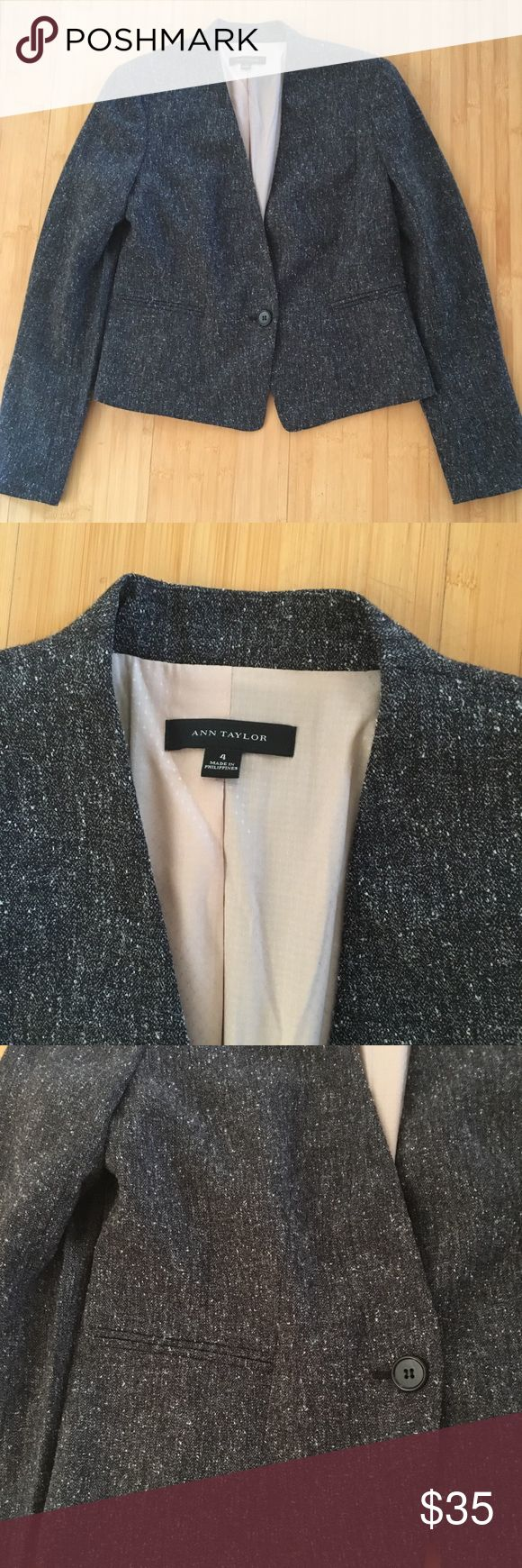 Ann Taylor Grey Tweed Blazer Ann Taylor grey tweed blazer. Like new. Size 4. Ann Taylor Jackets & Coats Blazers