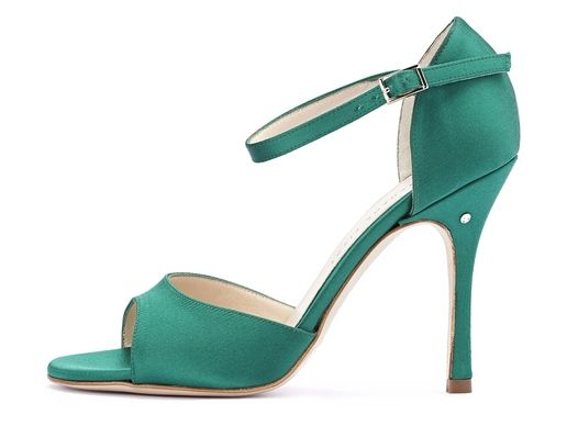 Sandalo CLASSICO in Raso verde. Tango shoes collection