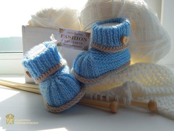 Beautiful knitted booties.Newborn Baby Booties.Hand made knitted baby booties.Blue baby booties