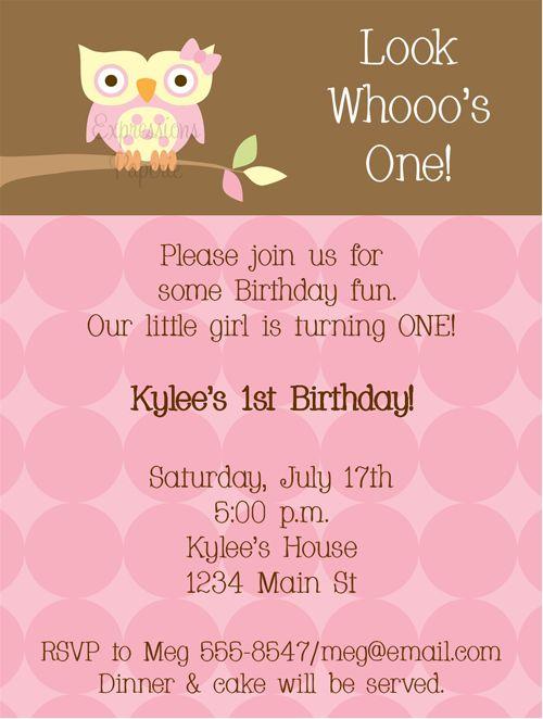 Unique Owl Birthday Invitations Ideas On Pinterest Owl - 1st birthday invitations girl owl