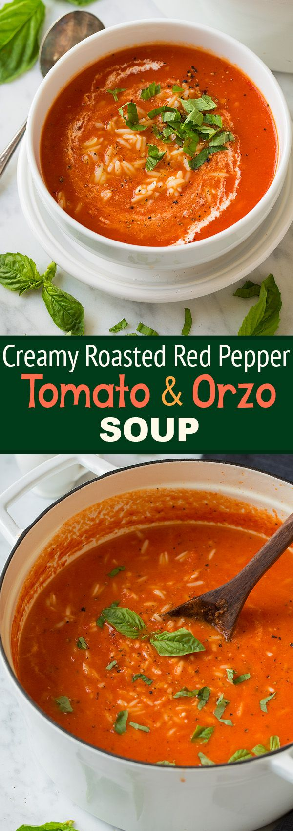 Creamy Roasted Red Pepper Tomato and Orzo Soup - We loved this soup!