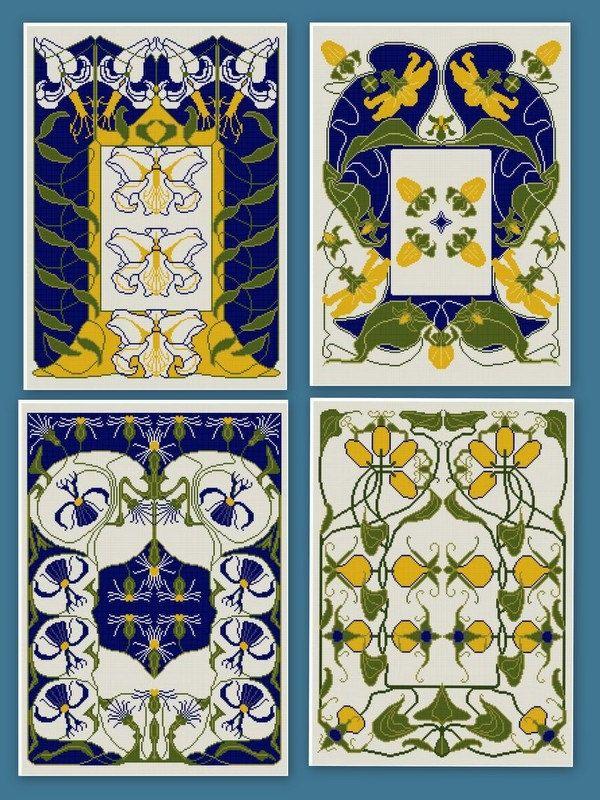 ... 12 floralen Jugendstil Entwürfe.. .adapted aus einem antiken deutschen Kalender.. .color koordiniert.. .they machen große Kissen, gerahmte Kunst,