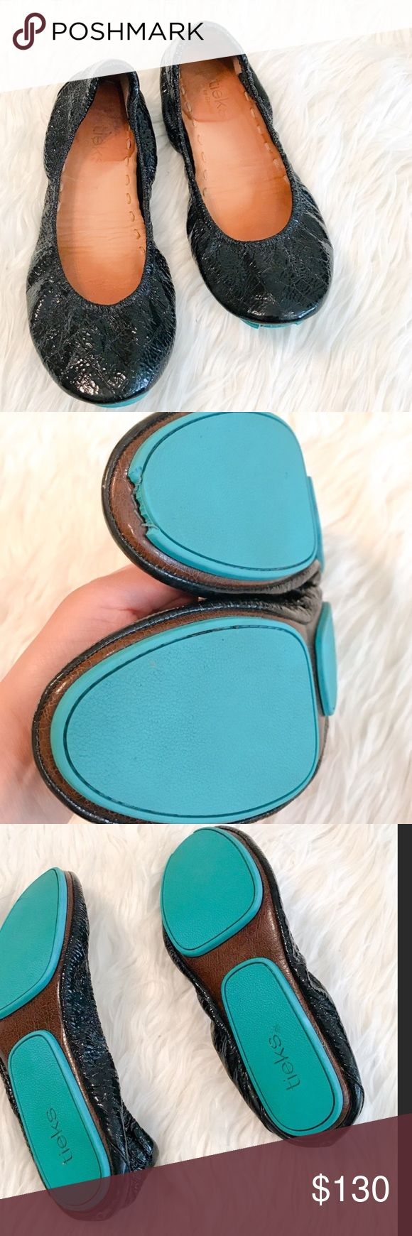 Tieks size 7 Re posh. Selling for the exact same price I paid for them 2 weeks ago. I have not worn them (original posher did) due to them running smaller than original Tieks. Will trade for other Tieks only. price is firm since I'm already loosing money due to posh fees.. All sales finial. View all photos of wear and defects. No box, bag or flower. Tieks Shoes