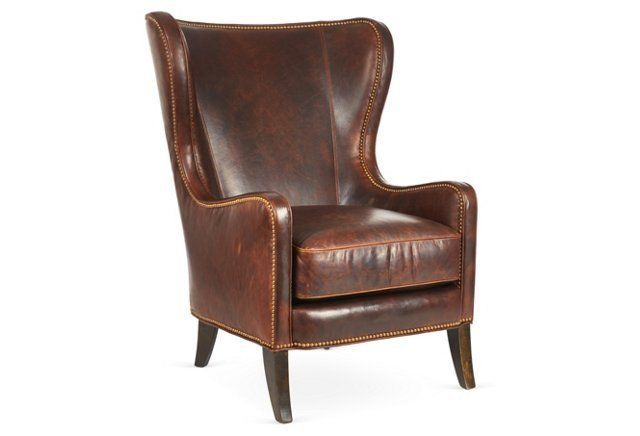 Dempsey Leather Wing Chair, Bourbon