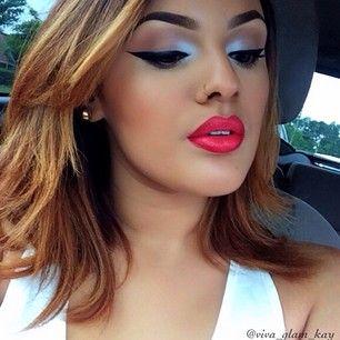 Instagram photo by viva_glam_kay - Lip combo: Cherry Liner && Vegas Volt Lipstick from MAC!