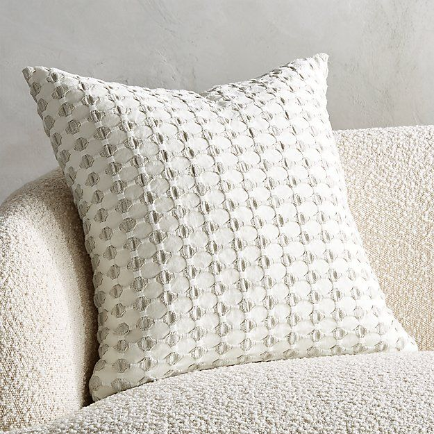 20 Estela Grey And White Pillow With Down Alternative Insert Cb2 In 2020 Black And White Pillows White Pillows Black Pillows