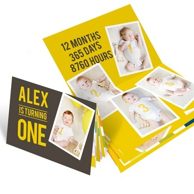 First Birthday Invitations -- Twelve Months of Photos