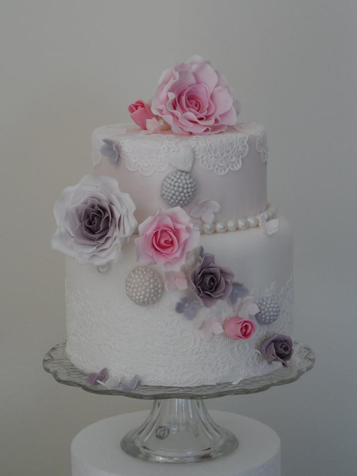 Pink and Lilac Roses with edible lace - Wedding Cake