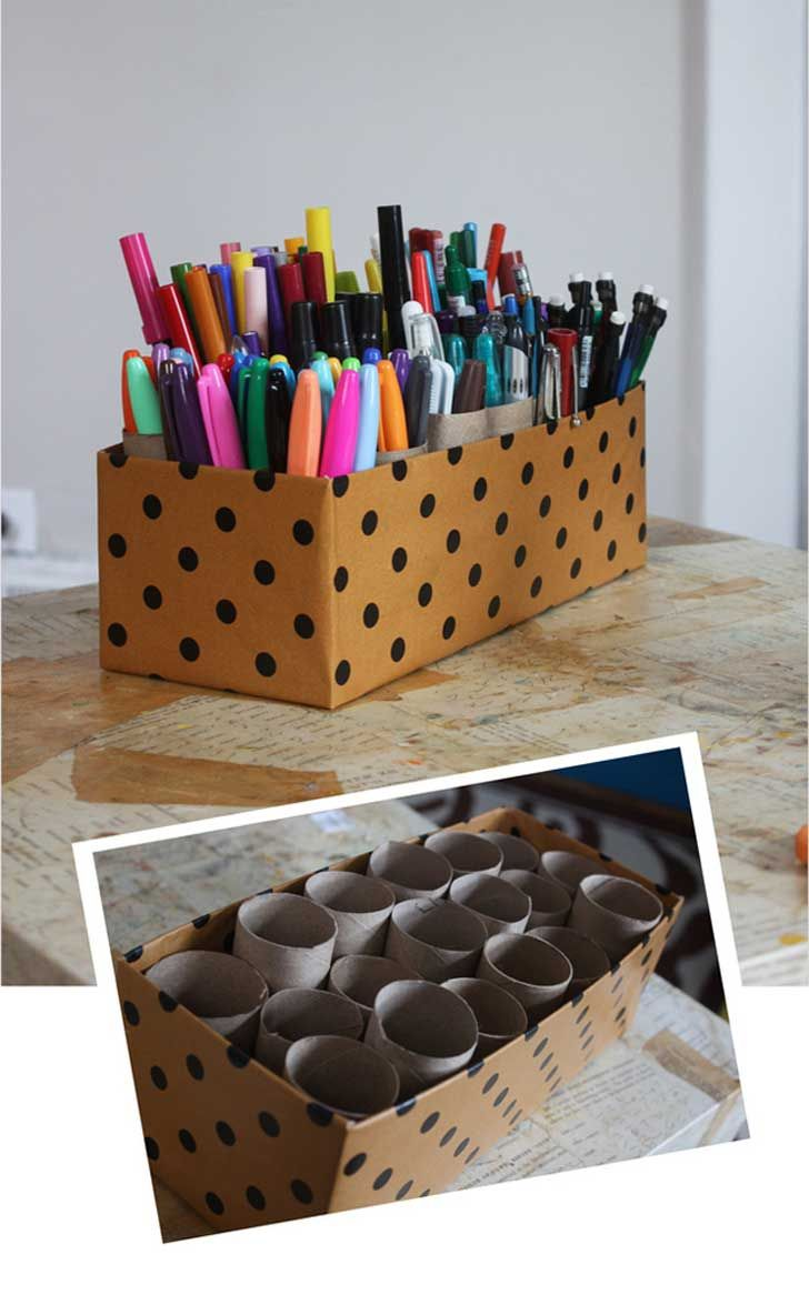 Pen storage. Cover a box (or use a basket?) and fill with toilet roll tubes. Need to fix them to the bottom if using a covered box to make it more sturdy.