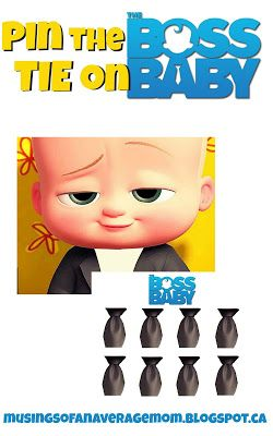 Boss Baby party - Pin the Tie on Boss Baby Free Printable.