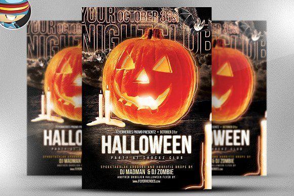 Halloween Club Flyer Template by FlyerHeroes on @creativemarket