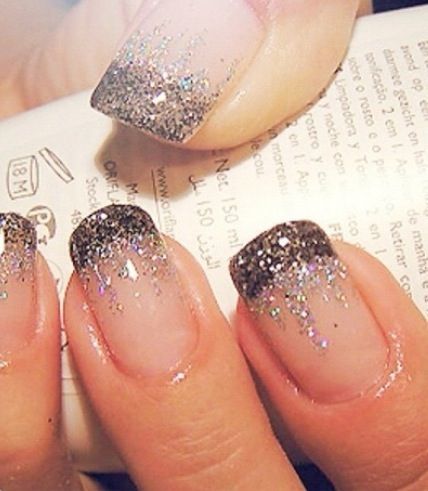 "French manicure and glitter waterfall / so dig this. Maybe with a dark pink ""water falling"" to a light pink. Or black to blue. Colors are awesome."