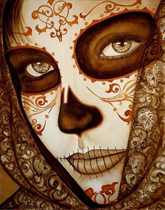 Lovely Calaca . Day of the dead sugar skull art .