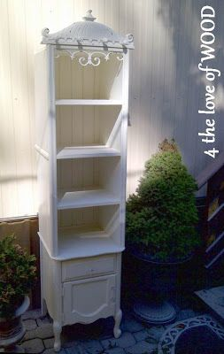 Add a nightstand/bedside table to a bookcase to make a bathroom cabinet