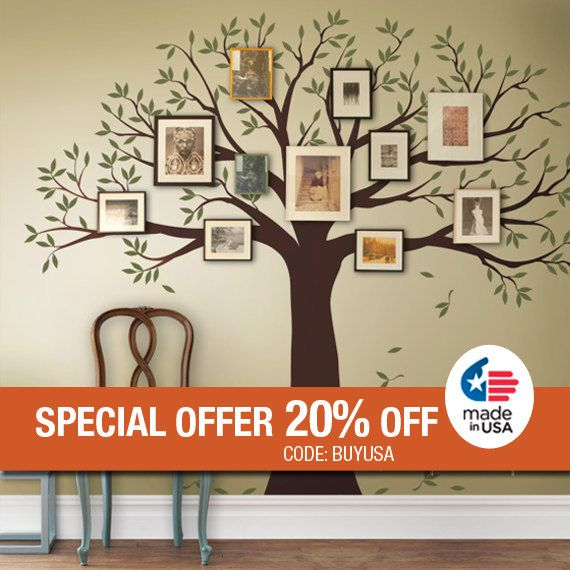 High Quality Wall Decal Family Tree Wall Decal Sticker Family Photo Tree   Two Colors   Vinyl  Wall Part 32