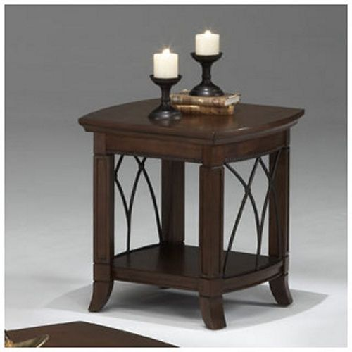 Bernards Cathedral Cherry with Metal End Table - End Tables at Hayneedle