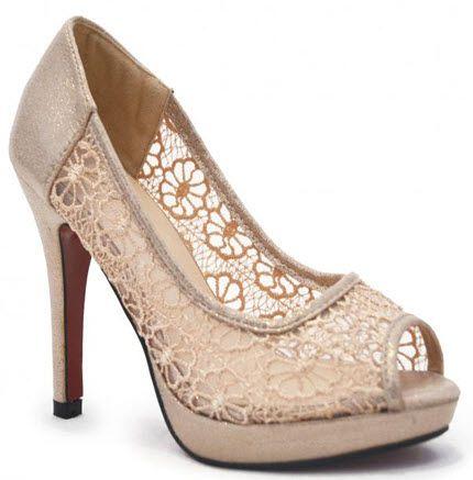 Pantofi senzationali online cu toc si platforma cu varful decupat si insertii de dantela