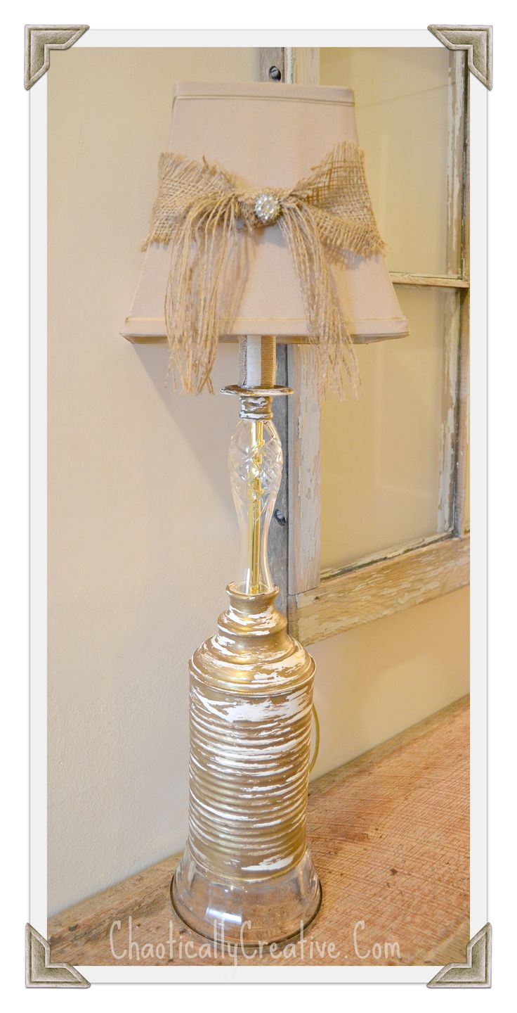 Upcycled Shabby Lamp using a Can.
