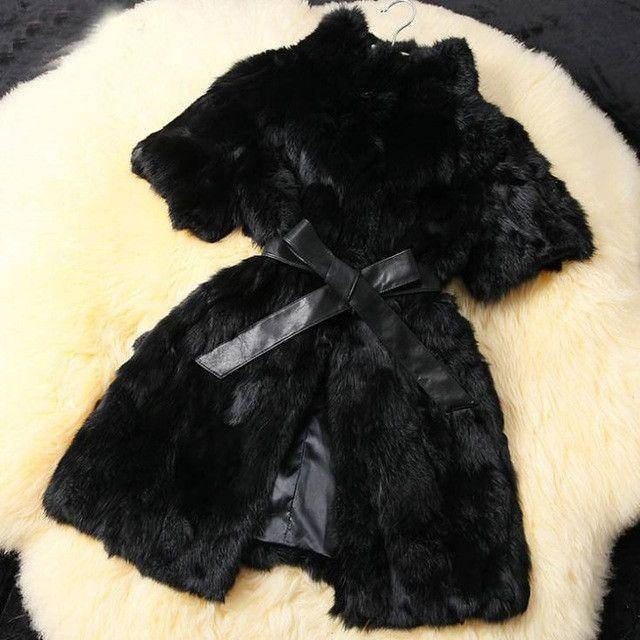 QUEENFUR 2016 New Real Rabbit Fur Coat Fashion Women Rabbit Fur Jacket Nature Winter Warm Rabbit Fur Outwear