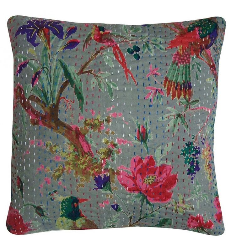 Beautiful Rajasthni Bird Print Kantha Work Cushion Cover