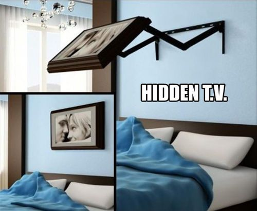 Coolest thing ever in the whole world! Ever.  I think I could live with a tv in the bedroom if it was exactly this.Hidden Tv, Hiddentv, Dreams House, Awesome Ideas, Cool Ideas, Tvs, Great Ideas, Bedrooms Tv, Pictures Frames