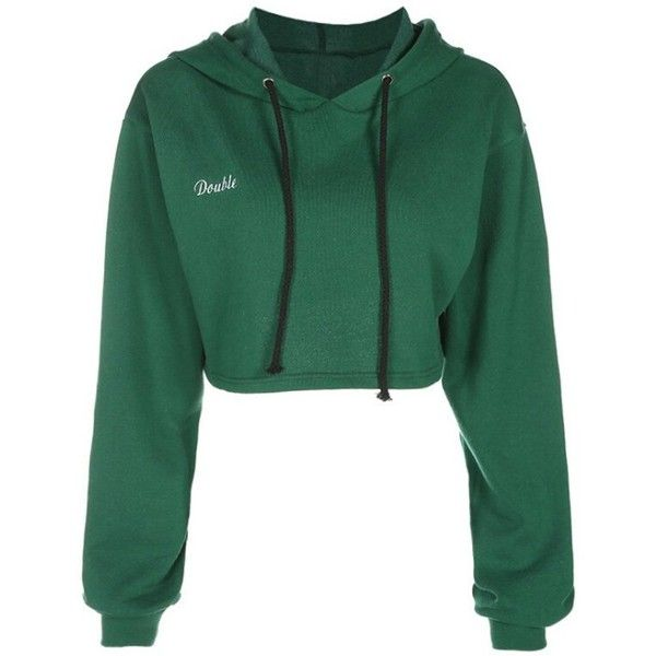 Drawstring Drop Shoulder Crop Pullover Hoodie ($14) ❤ liked on Polyvore featuring tops, hoodies, green hoodies, cropped pullover hoodie, green top, sweater pullover and green hoodie