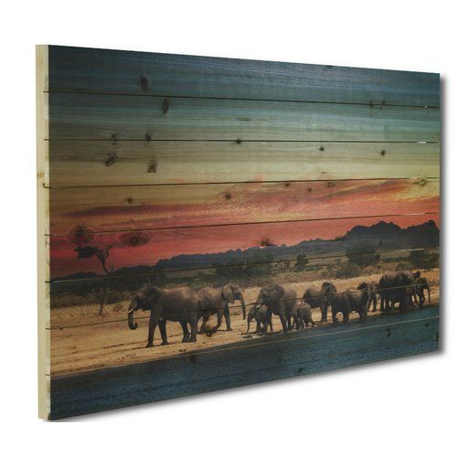 Gallery 57 'Elephant Herd' Photographic Print on Wood