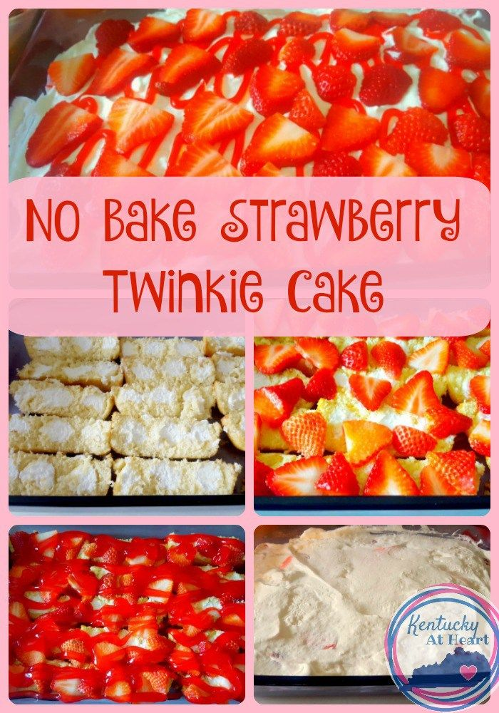 No Bake Strawberry Twinkie Cake! A cake made from Twinkies? Yes please!!  This super easy dessert recipe will leave your family asking for more!
